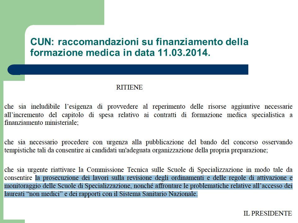 CUN: raccomandazioni su finanziamento della formazione medica in data 11.03.2014.