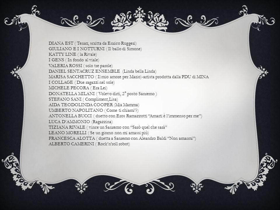 DIANA EST ( Tenax, scritta da Enrico Ruggeri) GIULIANO E I NOTTURNI ( Il ballo di Simone) KATTY LINE ( la Rivale) I GENS ( In fondo al viale) VALERIA