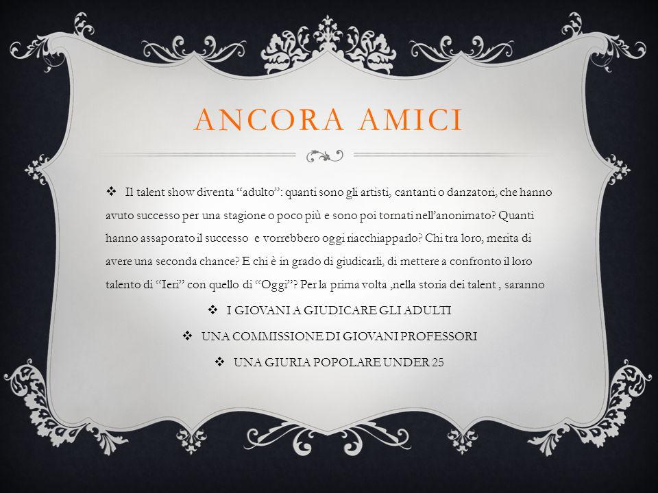 ANCORA AMICI  Show settimanale –Gara- Quiz game- Conduce DIANA DEL BUFALO con la collaborazione di Mara Majonchi e Platinette
