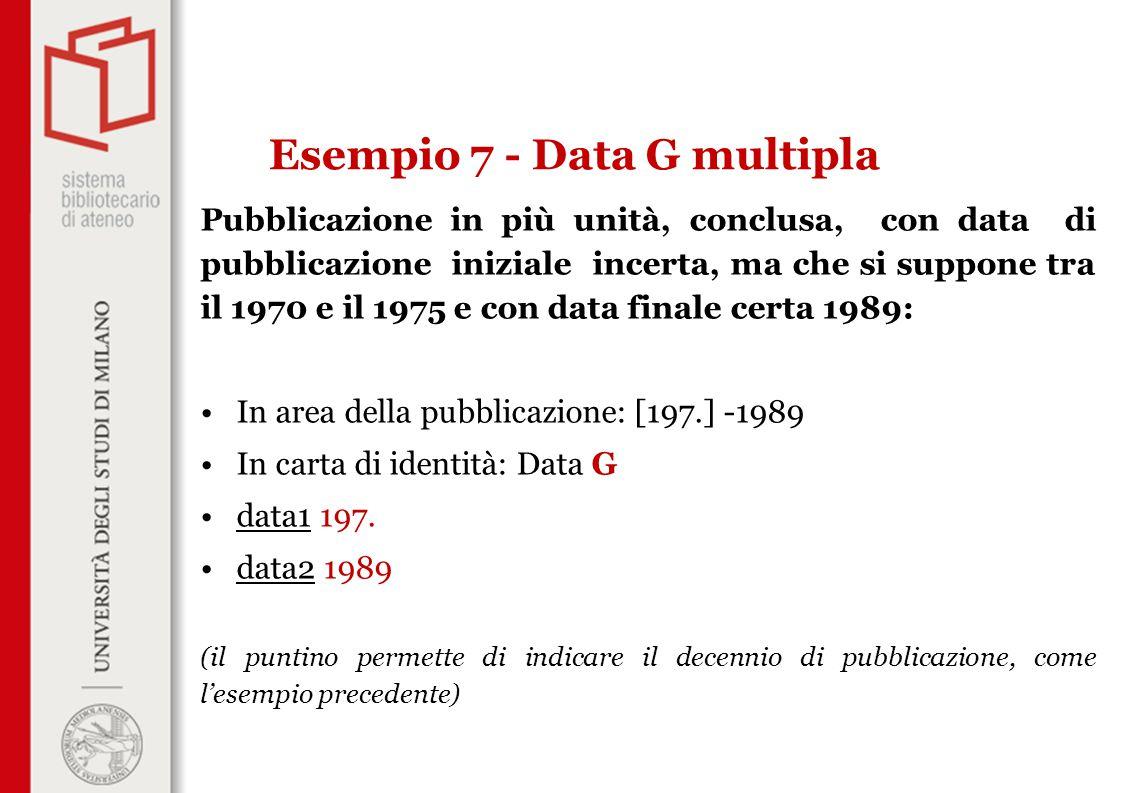 Pubblicazione in più unità, conclusa, con data di pubblicazione iniziale incerta, ma che si suppone tra il 1970 e il 1975 e con data finale certa 1989: In area della pubblicazione: [197.] -1989 In carta di identità: Data G data1 197.