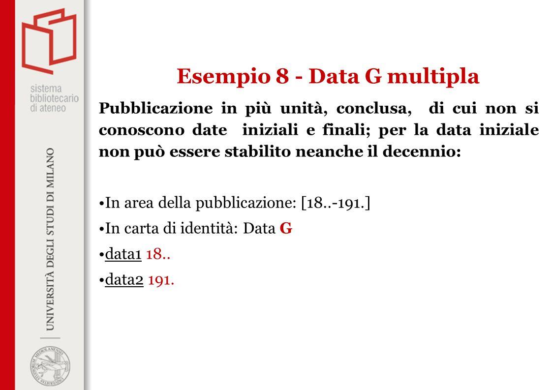 Pubblicazione in più unità, conclusa, di cui non si conoscono date iniziali e finali; per la data iniziale non può essere stabilito neanche il decenni