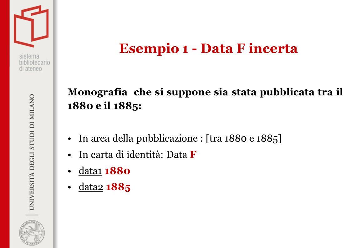 Monografia che si suppone sia stata pubblicata tra il 1880 e il 1885: In area della pubblicazione : [tra 1880 e 1885] In carta di identità: Data F dat