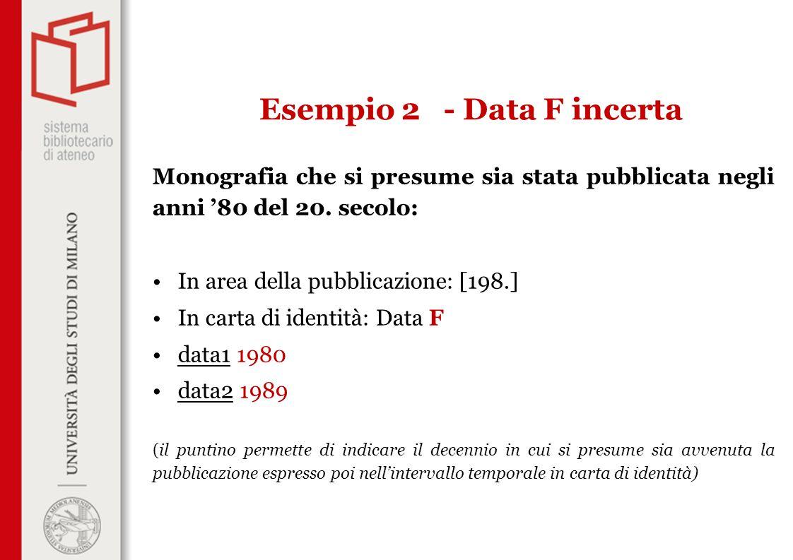 Monografia che si presume sia stata pubblicata negli anni '80 del 20. secolo: In area della pubblicazione: [198.] In carta di identità: Data F data1 1