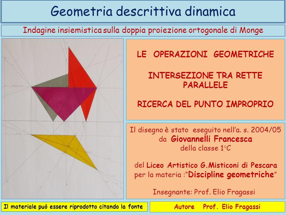 Indagine insiemistica sulla doppia proiezione ortogonale di Monge Geometria descrittiva dinamica Autore Prof. Elio Fragassi Il materiale può essere ri
