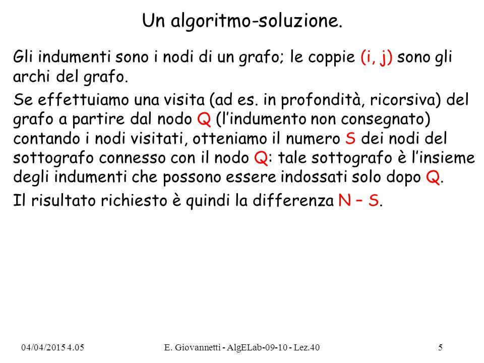 04/04/2015 4.07E. Giovannetti - AlgELab-09-10 - Lez.405 Un algoritmo-soluzione. Gli indumenti sono i nodi di un grafo; le coppie (i, j) sono gli archi