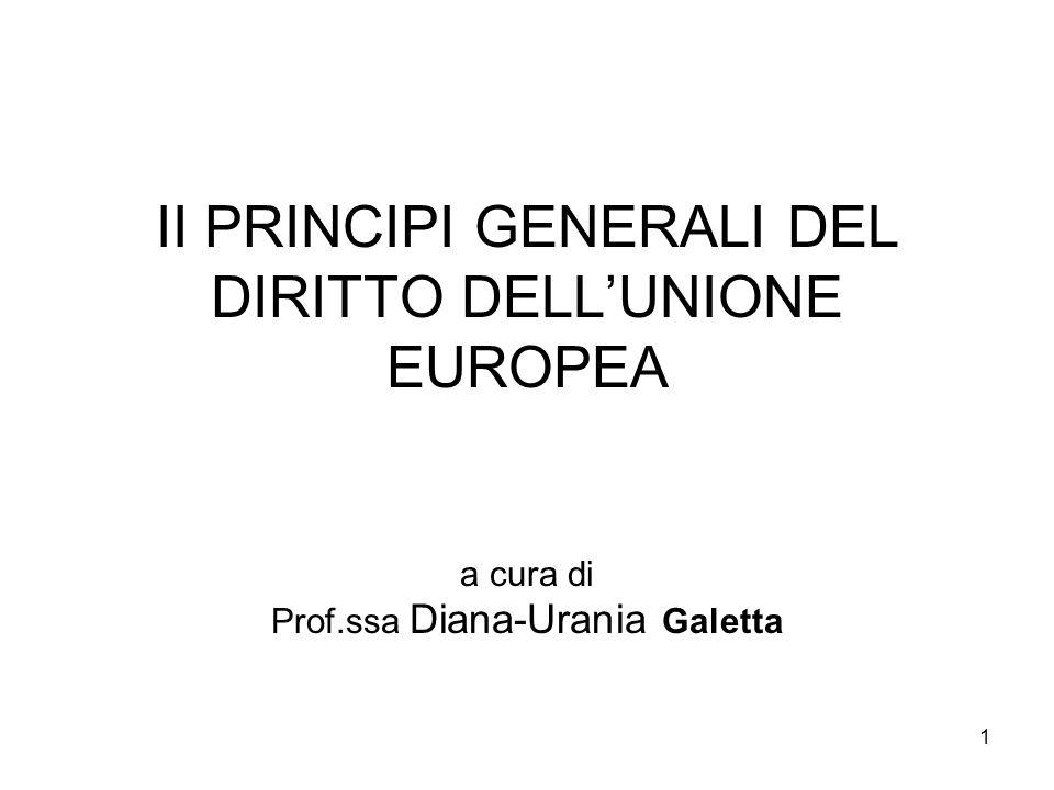 12 B) I PRINCIPI GENERALI ATTINENTI ALL'ATTIVITÀ AMMINISTRATIVA: 2) Il principio di certezza del diritto La stabilità dei rapporti giuridici, intesa essenzialmente come prevedibilità delle situazioni e dei rapporti giuridici rientranti nella sfera del diritto UE (sentenza Duff del 1996) e accompagnata dal corollario della insostenibilità della posizione dell'autorità UE volta a ritardare indefinitamente l'esercizio dei suoi poteri di controllo o sanzionatori (sentenza Falck e Acciaierie di Bolzano del 2002).