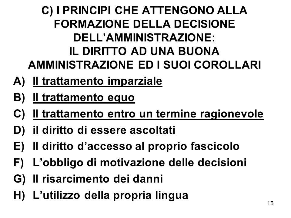15 C) I PRINCIPI CHE ATTENGONO ALLA FORMAZIONE DELLA DECISIONE DELL'AMMINISTRAZIONE: IL DIRITTO AD UNA BUONA AMMINISTRAZIONE ED I SUOI COROLLARI A)Il