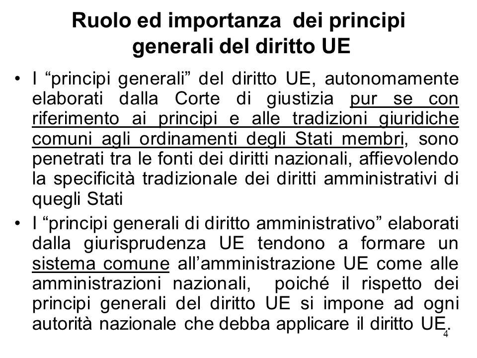 """4 Ruolo ed importanza dei principi generali del diritto UE I """"principi generali"""" del diritto UE, autonomamente elaborati dalla Corte di giustizia pur"""