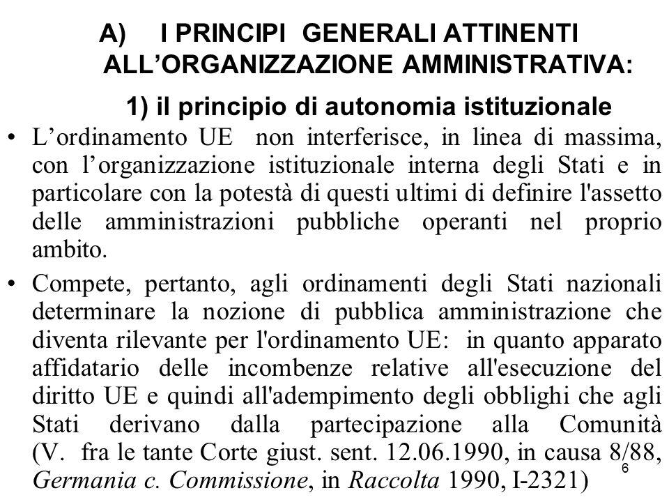 6 A)I PRINCIPI GENERALI ATTINENTI ALL'ORGANIZZAZIONE AMMINISTRATIVA: 1) il principio di autonomia istituzionale L'ordinamento UE non interferisce, in