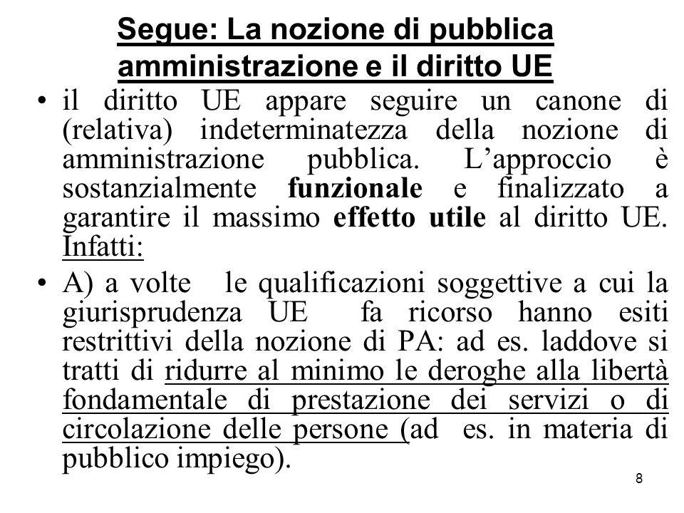 8 Segue: La nozione di pubblica amministrazione e il diritto UE il diritto UE appare seguire un canone di (relativa) indeterminatezza della nozione di