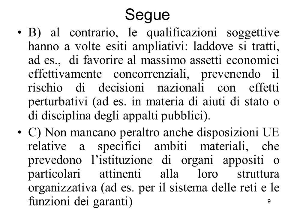 9 Segue B) al contrario, le qualificazioni soggettive hanno a volte esiti ampliativi: laddove si tratti, ad es., di favorire al massimo assetti econom