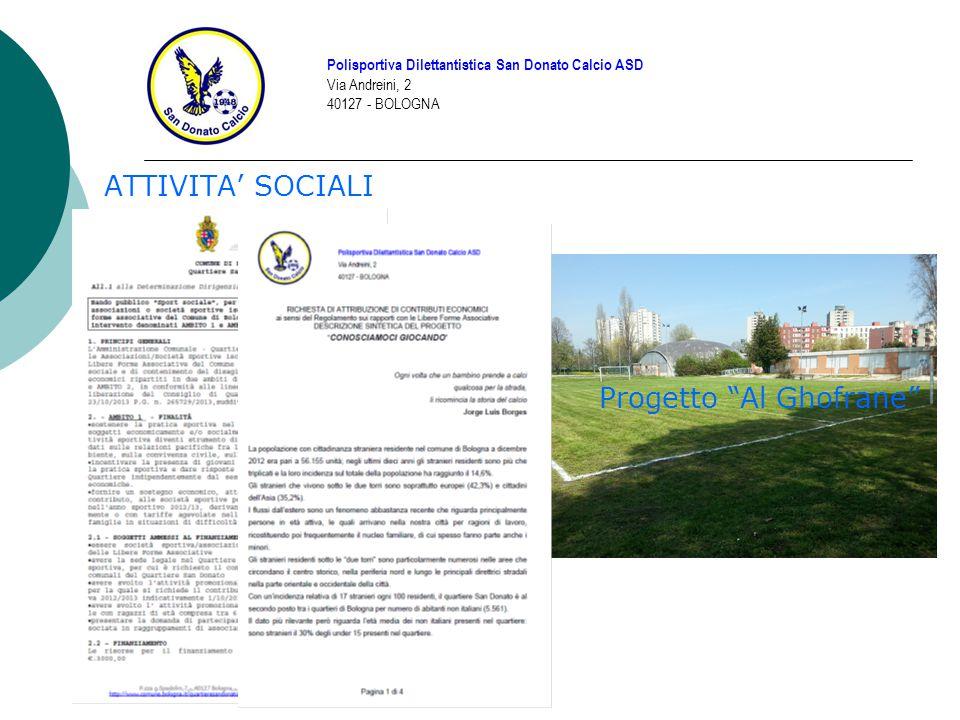 BILANCIO 2013/14 Polisportiva Dilettantistica San Donato Calcio ASD Via Andreini, 2 40127 - BOLOGNA ENTRATEUSCITE VociImportoVociImporto Quote48.000 (3.000 ancora da incassare) Iscrizione Campionati14.000 Serate Campo Savena11.735Rimborso Allenatori22.000 Da Progetti Quartiere8.600 (3.000 ancora da incassare) Affitto Campo Savena14.000 (circa) Materiale684Affitto Campo San Donato 20.000 (circa) Sponsor4.900Materiale Sportivo12.672 Entrate Varie1.600Tornei1.000 Corso Allenatori400 Segreteria2.250 Spese Bancarie400 Varie2.000 IVA e Tasse730 TOTALE75.519TOTALE89.452 ENTRATE – USCITE = -13.933