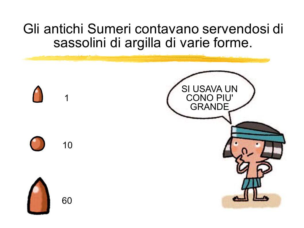 1 10 Gli antichi Sumeri contavano servendosi di sassolini di argilla di varie forme.
