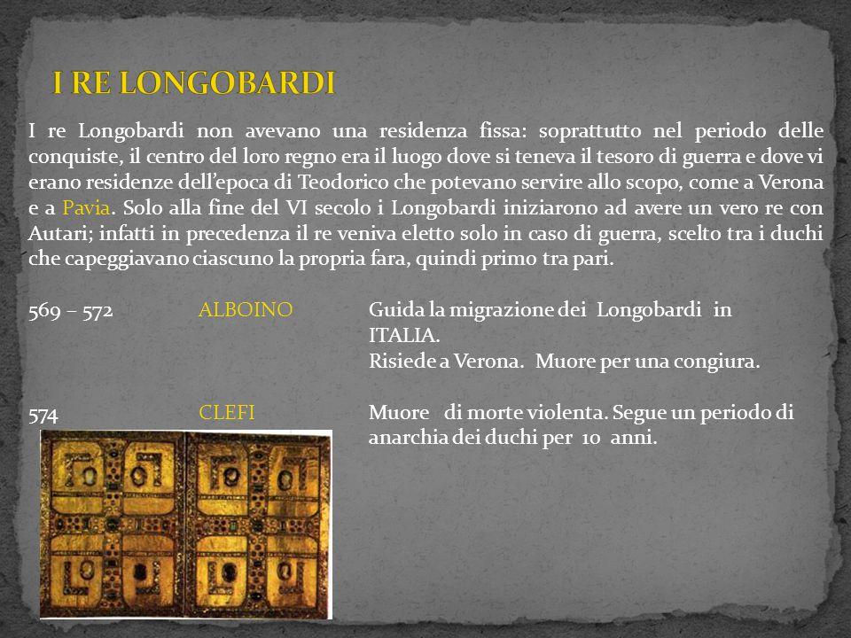 I re Longobardi non avevano una residenza fissa: soprattutto nel periodo delle conquiste, il centro del loro regno era il luogo dove si teneva il teso