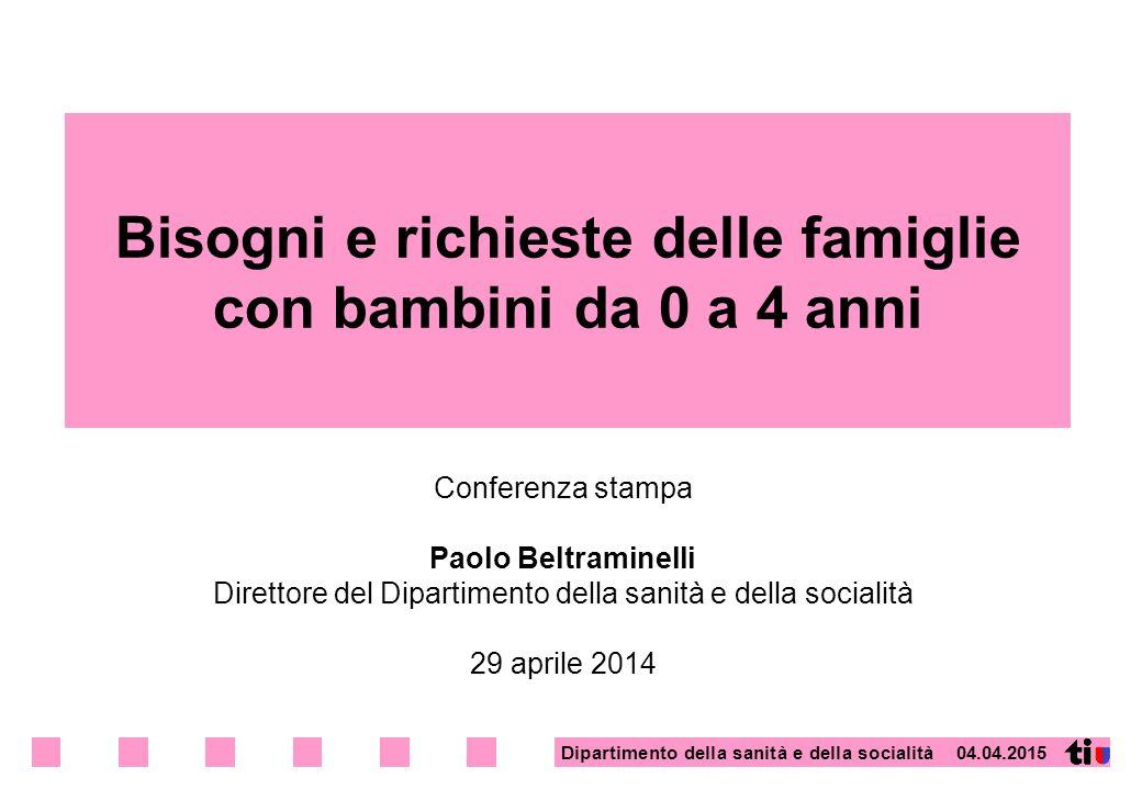 Dipartimento della sanità e della socialità 04.04.2015 Bisogni e richieste delle famiglie con bambini da 0 a 4 anni Conferenza stampa Paolo Beltramine