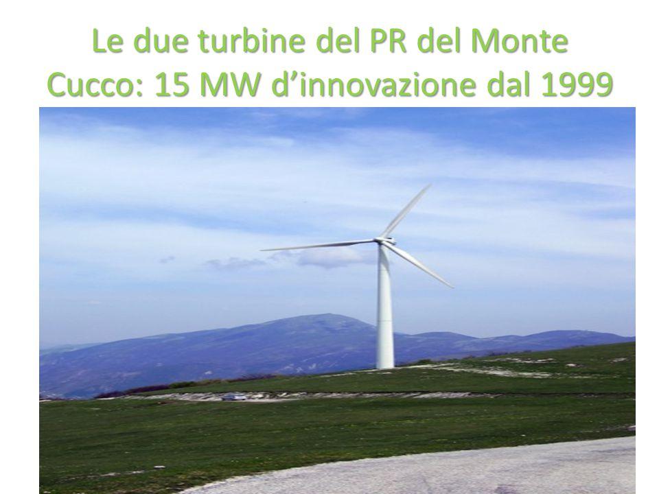 Le due turbine del PR del Monte Cucco: 15 MW d'innovazione dal 1999