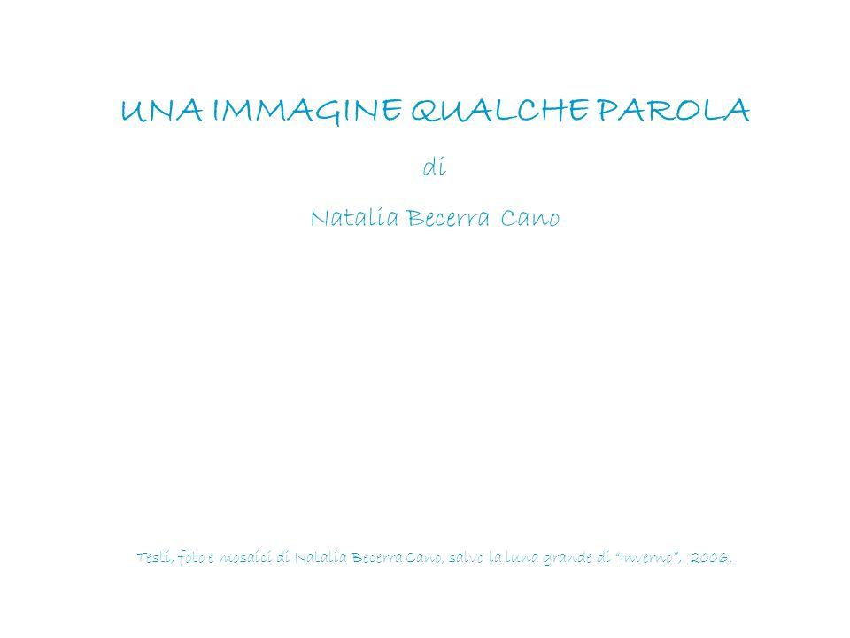"""UNA IMMAGINE QUALCHE PAROLA di Natalia Becerra Cano Testi, foto e mosaici di Natalia Becerra Cano, salvo la luna grande di """"Inverno"""", 2006."""
