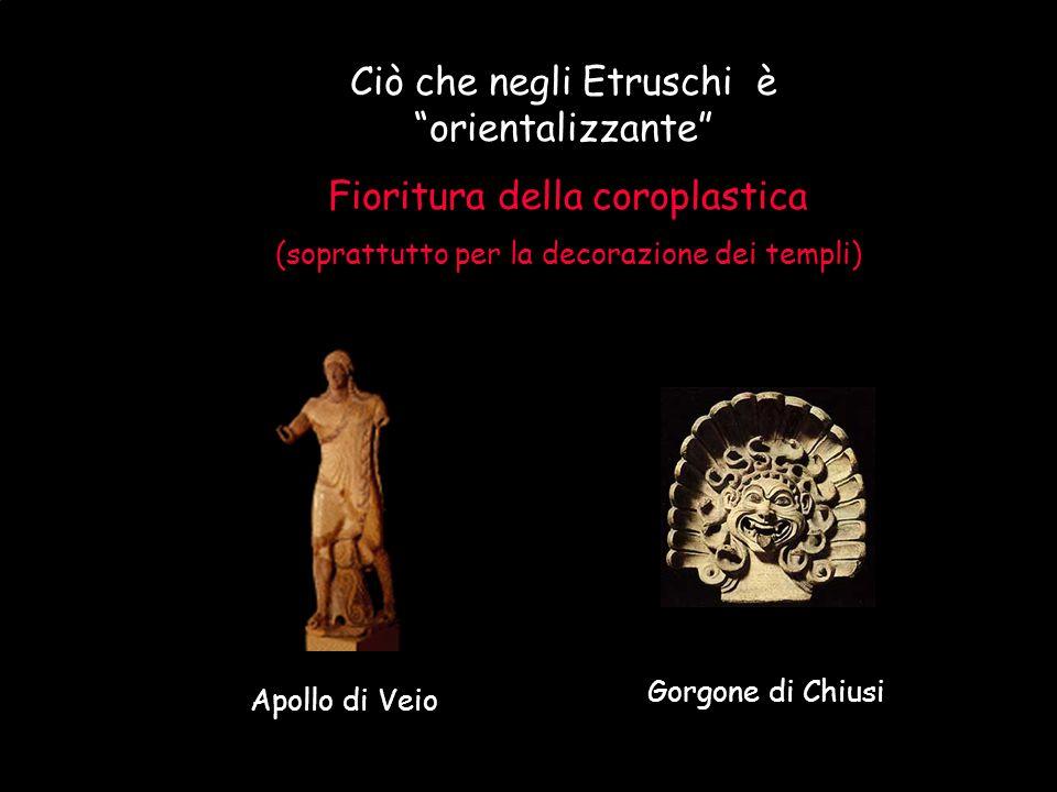 """Maria Giulia Poggi Etruschi. Storia e civiltà34 Ciò che negli Etruschi è """"orientalizzante"""" Fioritura della coroplastica (soprattutto per la decorazion"""