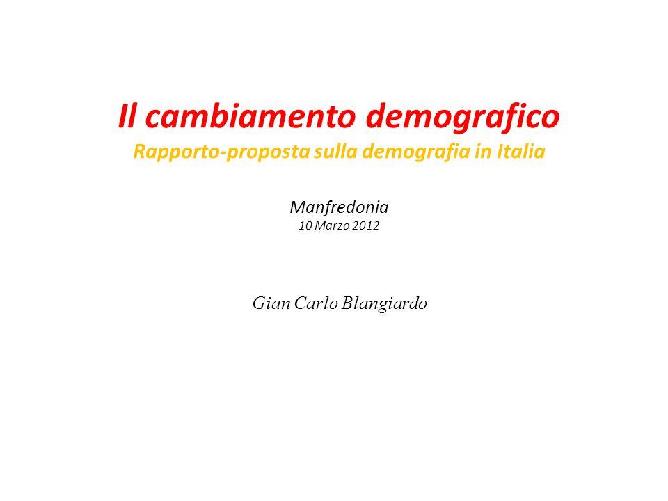 Il cambiamento demografico Rapporto-proposta sulla demografia in Italia Manfredonia 10 Marzo 2012 Gian Carlo Blangiardo
