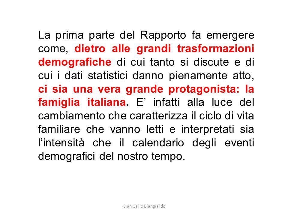 Gian Carlo Blangiardo La prima parte del Rapporto fa emergere come, dietro alle grandi trasformazioni demografiche di cui tanto si discute e di cui i dati statistici danno pienamente atto, ci sia una vera grande protagonista: la famiglia italiana.
