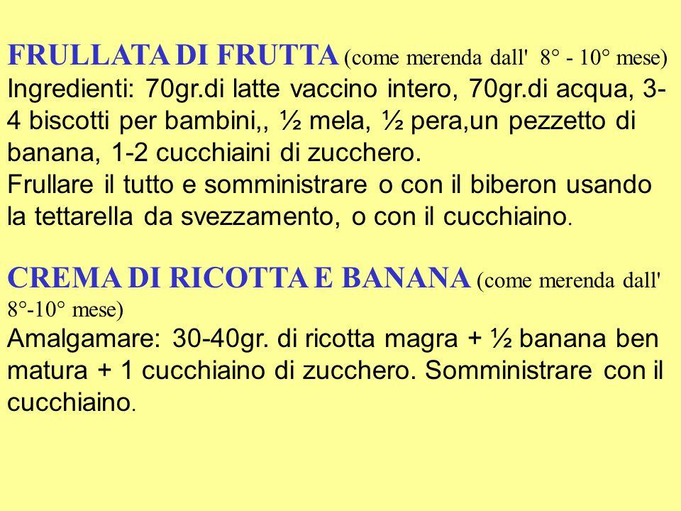 FRULLATA DI FRUTTA (come merenda dall 8° - 10° mese) Ingredienti: 70gr.di latte vaccino intero, 70gr.di acqua, 3- 4 biscotti per bambini,, ½ mela, ½ pera,un pezzetto di banana, 1-2 cucchiaini di zucchero.