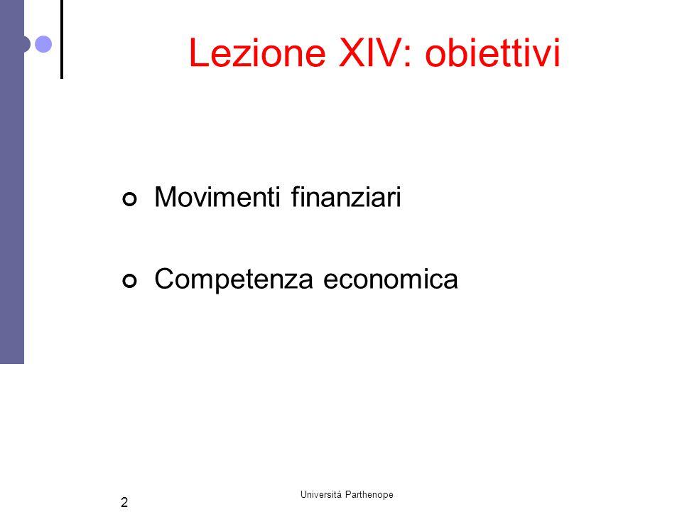 Università Parthenope 13 Possibili domande d'esame I costi ed i ricavi che partecipano alla determinazione del reddito d'esercizio e quelli che devono essere esclusi