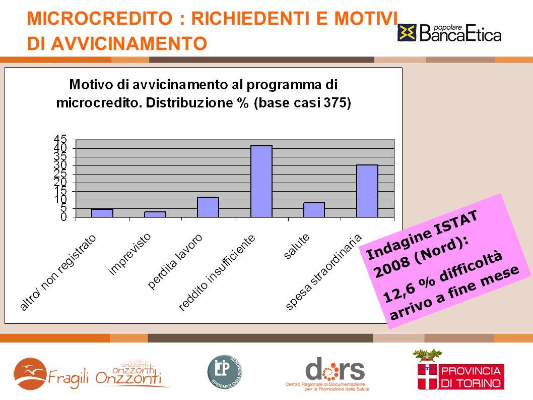 MICROCREDITO : RICHIEDENTI E MOTIVI DI AVVICINAMENTO Indagine ISTAT 2008 (Nord): 12,6 % difficoltà arrivo a fine mese