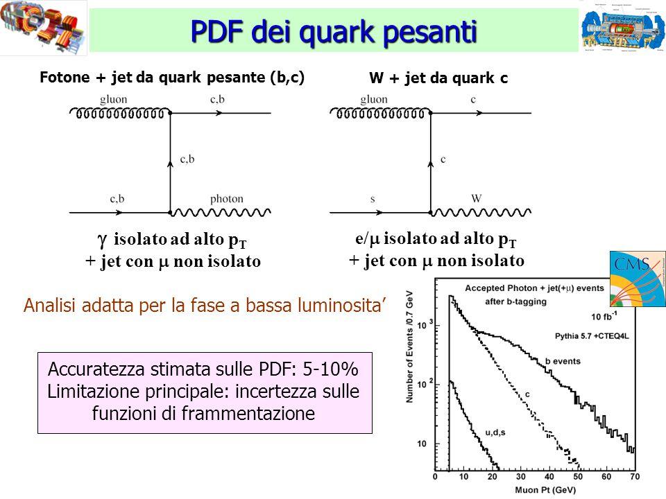 12 PDF dei quark pesanti  isolato ad alto p T + jet con  non isolato Fotone + jet da quark pesante (b,c) W + jet da quark c e/  isolato ad alto p T + jet con  non isolato Analisi adatta per la fase a bassa luminosita' Accuratezza stimata sulle PDF: 5-10% Limitazione principale: incertezza sulle funzioni di frammentazione