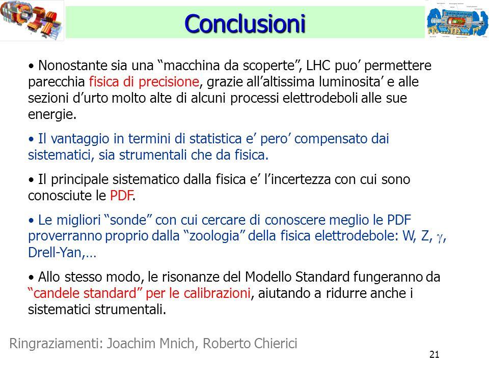 21 Conclusioni Ringraziamenti: Joachim Mnich, Roberto Chierici Nonostante sia una macchina da scoperte , LHC puo' permettere parecchia fisica di precisione, grazie all'altissima luminosita' e alle sezioni d'urto molto alte di alcuni processi elettrodeboli alle sue energie.