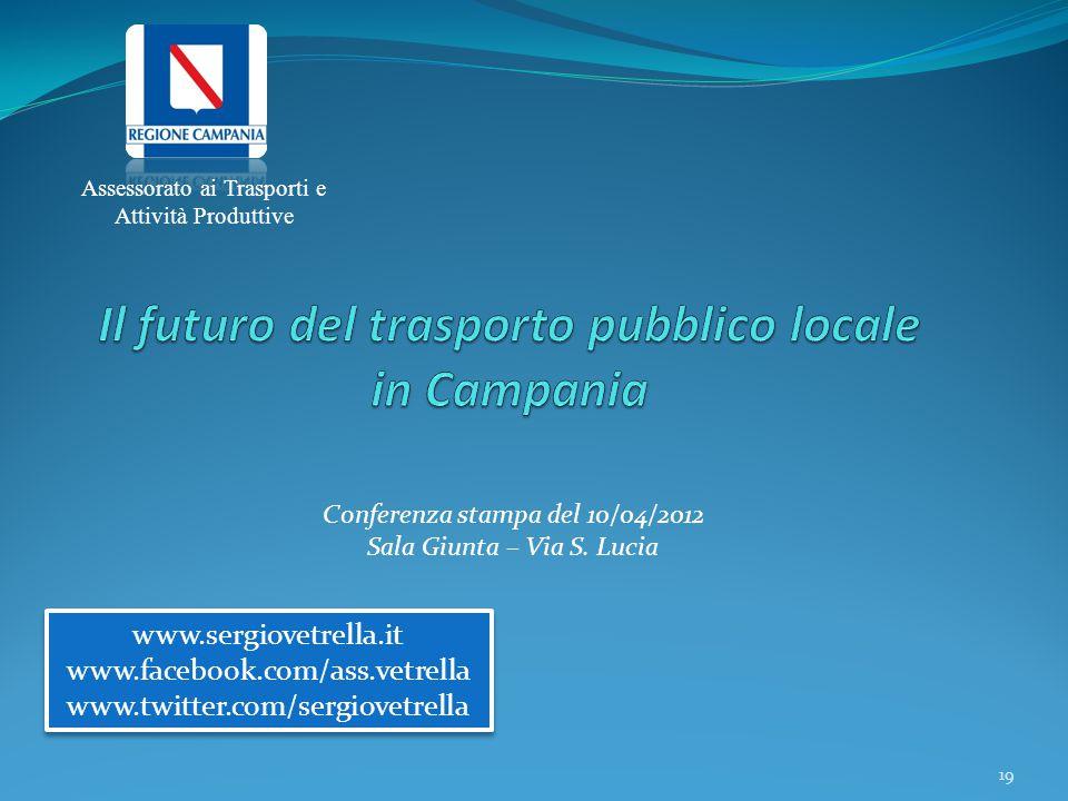 Assessorato ai Trasporti e Attività Produttive www.sergiovetrella.it www.facebook.com/ass.vetrella www.twitter.com/sergiovetrella www.sergiovetrella.i