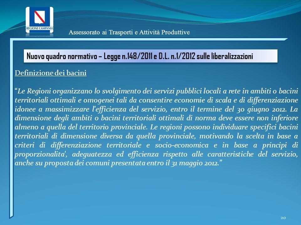 Assessorato ai Trasporti e Attività Produttive Nuovo quadro normativo – Legge n.148/2011 e D.L. n.1/2012 sulle liberalizzazioni Definizione dei bacini