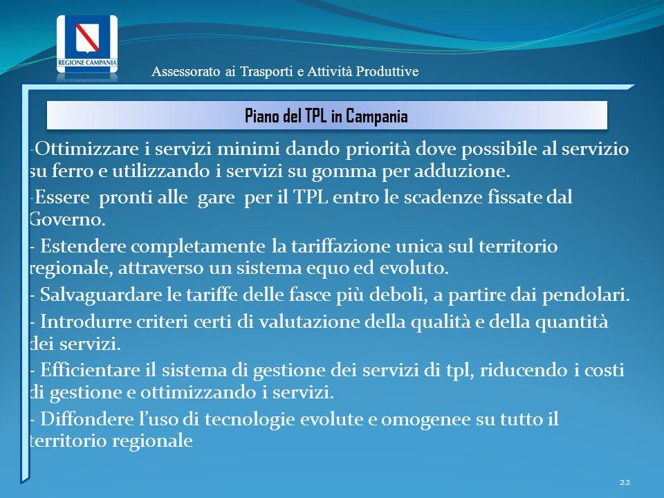 22 - Ottimizzare i servizi minimi dando priorità dove possibile al servizio su ferro e utilizzando i servizi su gomma per adduzione.