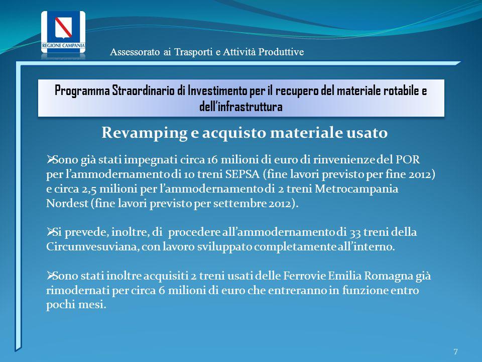 Assessorato ai Trasporti e Attività Produttive Programma Straordinario di Investimento per il recupero del materiale rotabile e dell'infrastruttura 7