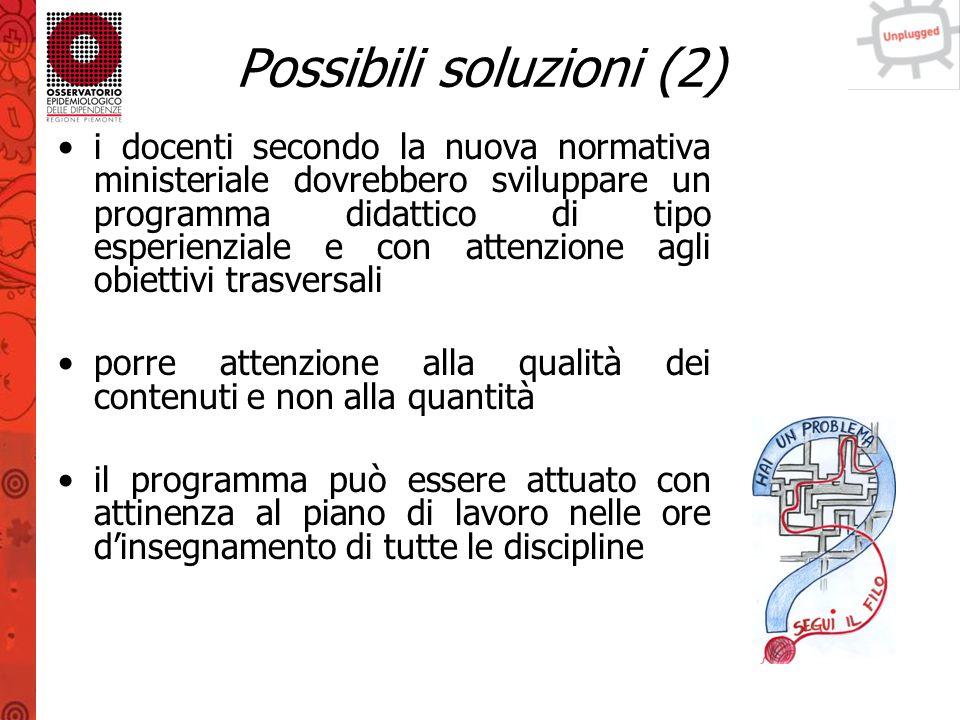 Possibili soluzioni (3) introdurre Unplugged nel proprio insegnamento può indicare una buona attitudine all'innovazione e promuovere una formazione di qualità Unplugged utilizza una modalità d'insegnamento/apprendimento interattiva che può diventare un modello di attività didattica