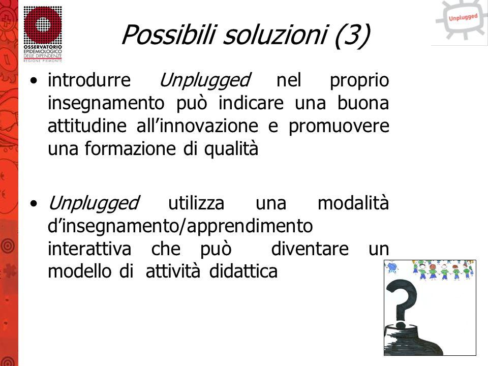 Possibili soluzioni (4) per svolgere il programma non è necessario avere una conoscenza approfondita sulle sostanze le informazioni sulle sostanze sono disponibili nel manuale e i formatori rappresentano un punto di riferimento durante l'applicazione del programma