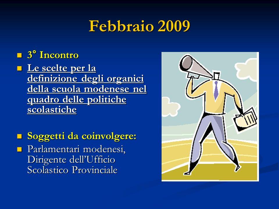 Febbraio 2009 3° Incontro 3° Incontro Le scelte per la definizione degli organici della scuola modenese nel quadro delle politiche scolastiche Le scel