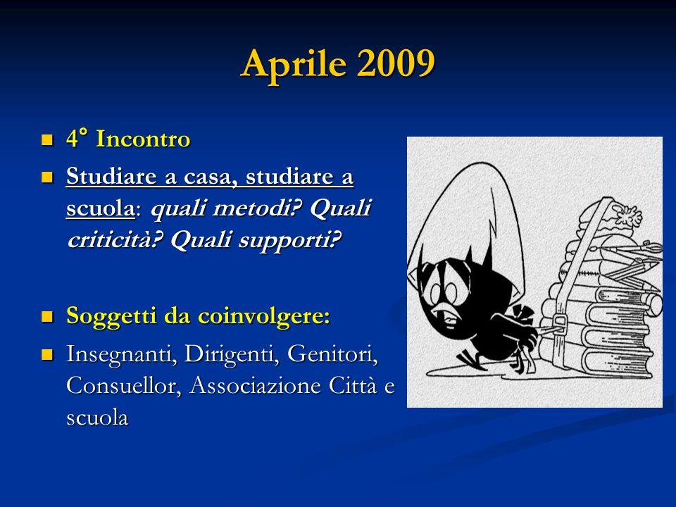 Aprile 2009 4° Incontro 4° Incontro Studiare a casa, studiare a scuola: quali metodi? Quali criticità? Quali supporti? Studiare a casa, studiare a scu