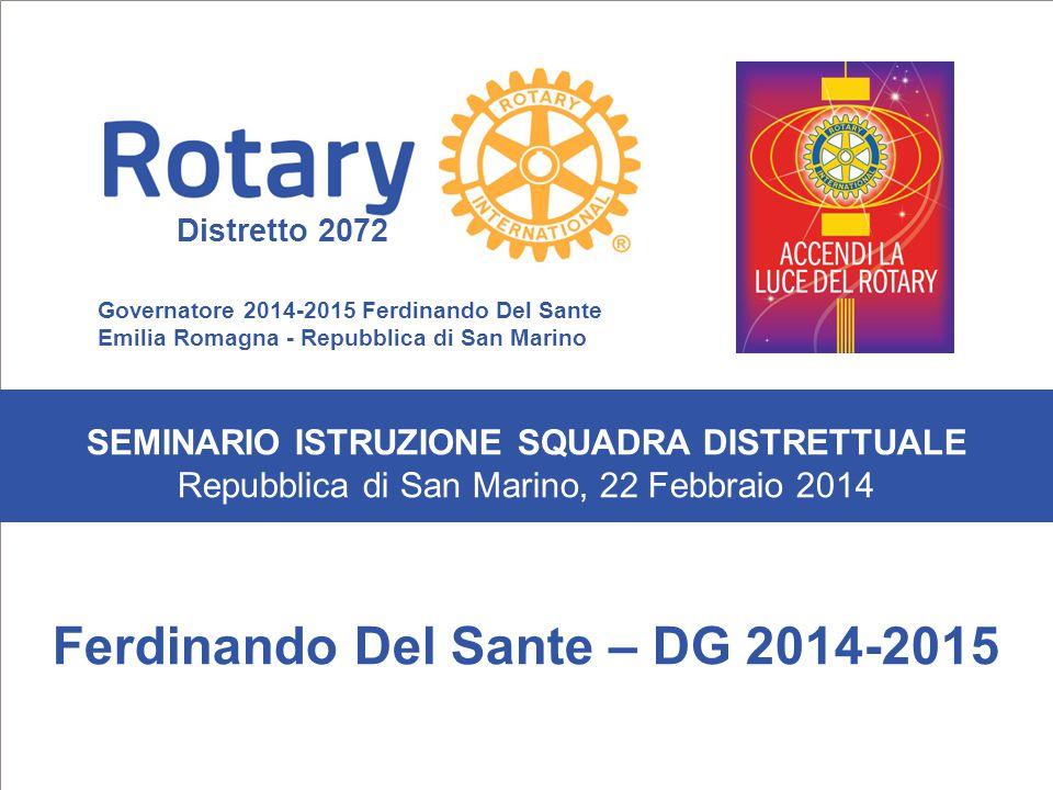 SEMINARIO ISTRUZIONE SQUADRA DISTRETTUALE Repubblica di San Marino, 22 Febbraio 2014 Ferdinando Del Sante – DG 2014-2015 SEMINARIO ISTRUZIONE SQUADRA
