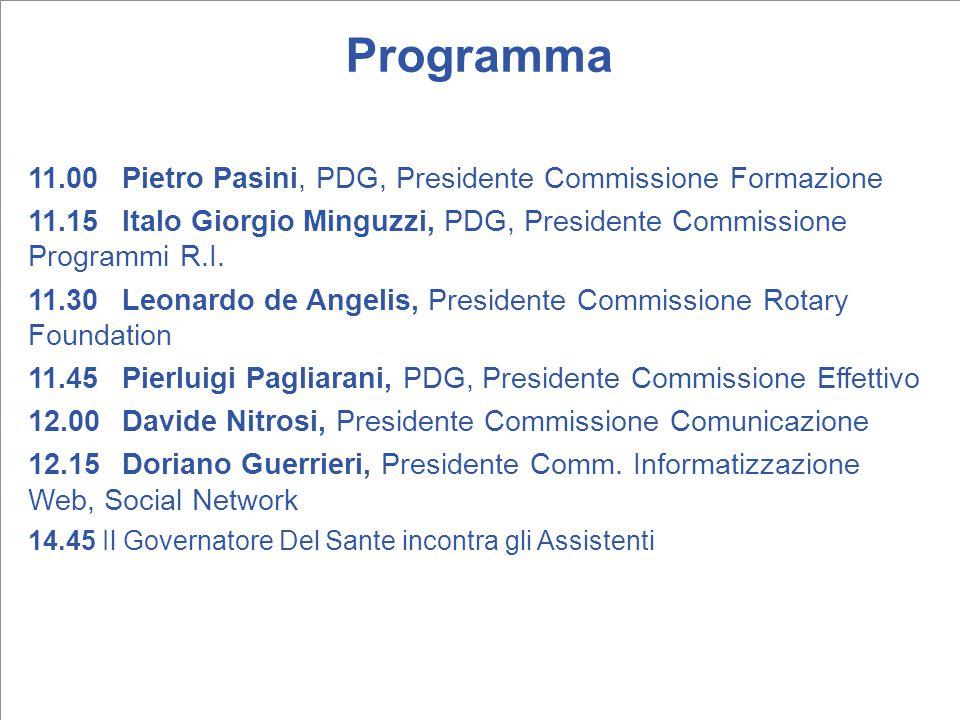 Programma 11.00Pietro Pasini, PDG, Presidente Commissione Formazione 11.15Italo Giorgio Minguzzi, PDG, Presidente Commissione Programmi R.I. 11.30Leon