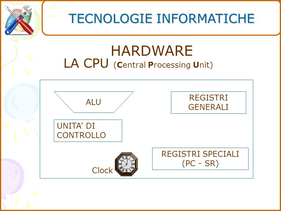 HARDWARE REGISTRI GENERALI REGISTRI SPECIALI (PC - SR) ALU UNITA' DI CONTROLLO Clock LA CPU (Central Processing Unit) TECNOLOGIE INFORMATICHE