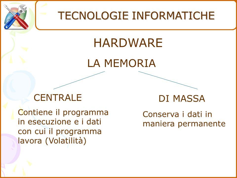 HARDWARE CENTRALE DI MASSA Contiene il programma in esecuzione e i dati con cui il programma lavora (Volatilità) Conserva i dati in maniera permanente LA MEMORIA TECNOLOGIE INFORMATICHE