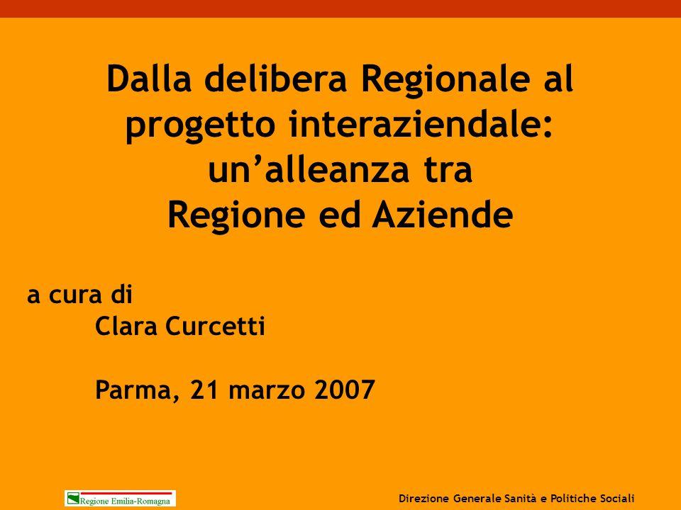 a cura di Clara Curcetti Parma, 21 marzo 2007 Dalla delibera Regionale al progetto interaziendale: un'alleanza tra Regione ed Aziende Direzione Genera