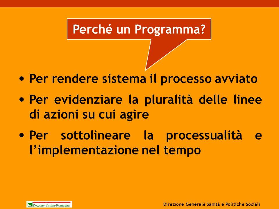 Per rendere sistema il processo avviato Per evidenziare la pluralità delle linee di azioni su cui agire Per sottolineare la processualità e l'implemen