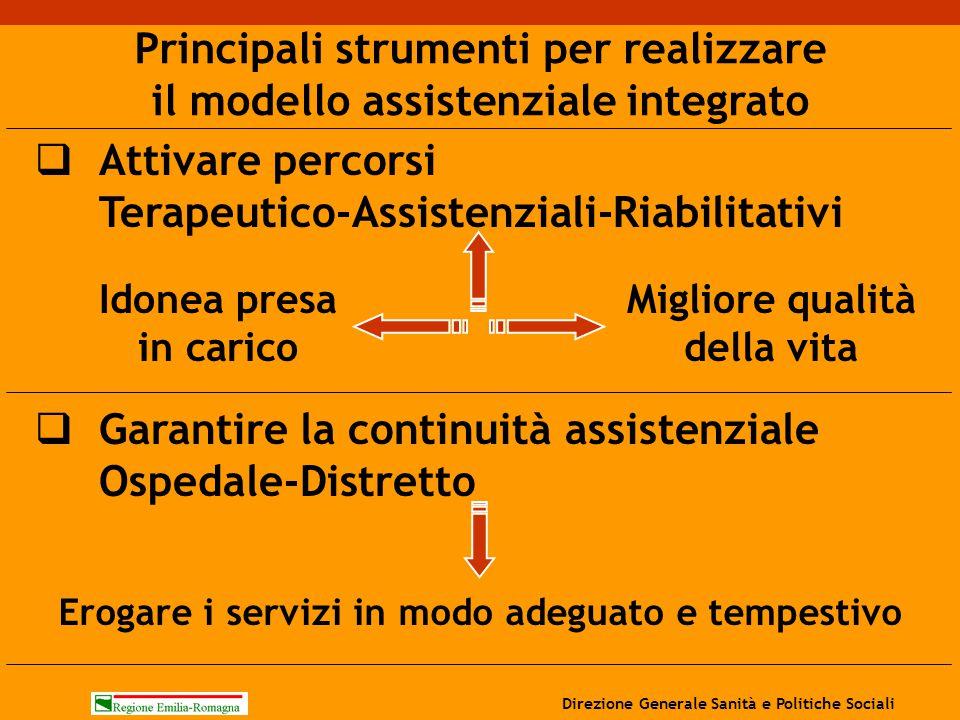  Attivare percorsi Terapeutico-Assistenziali-Riabilitativi Principali strumenti per realizzare il modello assistenziale integrato  Garantire la cont