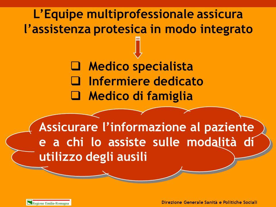 L'Equipe multiprofessionale assicura l'assistenza protesica in modo integrato  Medico specialista  Infermiere dedicato  Medico di famiglia Assicura