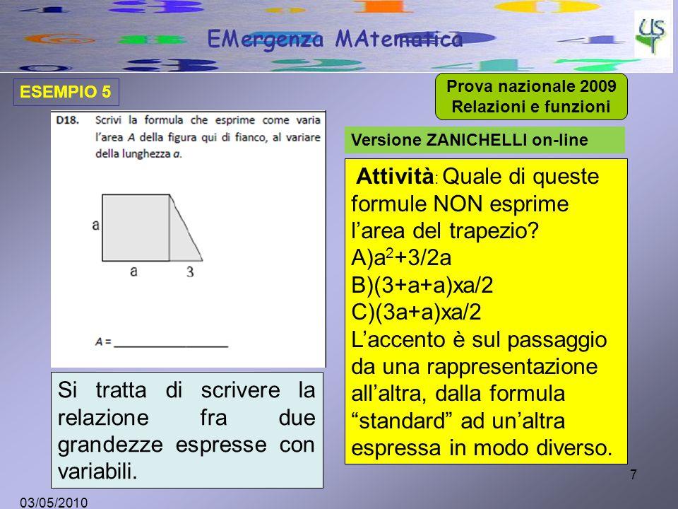 7 Versione ZANICHELLI on-line Attività : Quale di queste formule NON esprime l'area del trapezio.