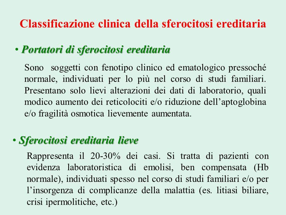 Classificazione clinica della sferocitosi ereditaria Portatori di sferocitosi ereditaria Sono soggetti con fenotipo clinico ed ematologico pressoché n