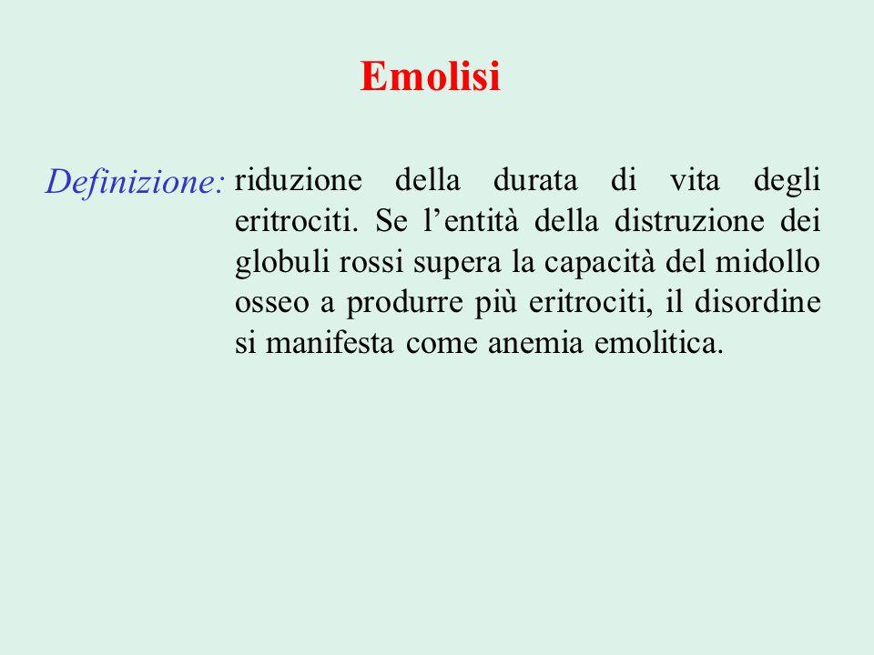Emolisi Definizione: riduzione della durata di vita degli eritrociti. Se l'entità della distruzione dei globuli rossi supera la capacità del midollo o
