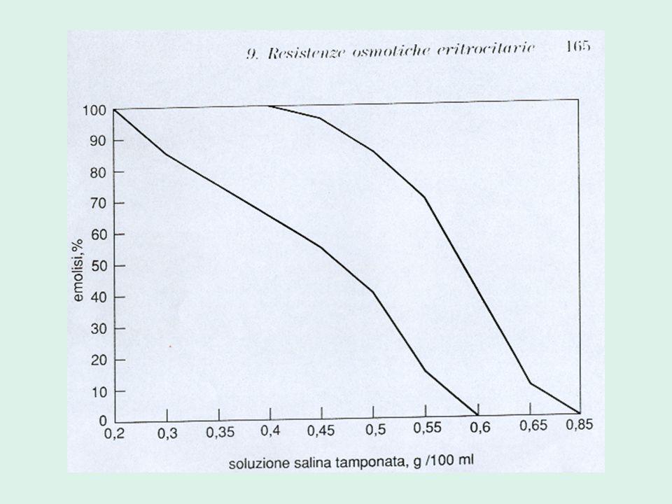 Tempo di lisi al glicerolo (GLT) Si utilizza un'unica soluzione di NaCl a cui è aggiunto glicerolo (come mezzo per ritardare l'emolisi) I risultati vengono espressi come tempo di dimezzamento della densità ottica del campione dei globuli rossi in esame (GLT 50 )