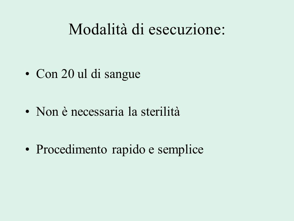 Modalità di esecuzione: Con 20 ul di sangue Non è necessaria la sterilità Procedimento rapido e semplice